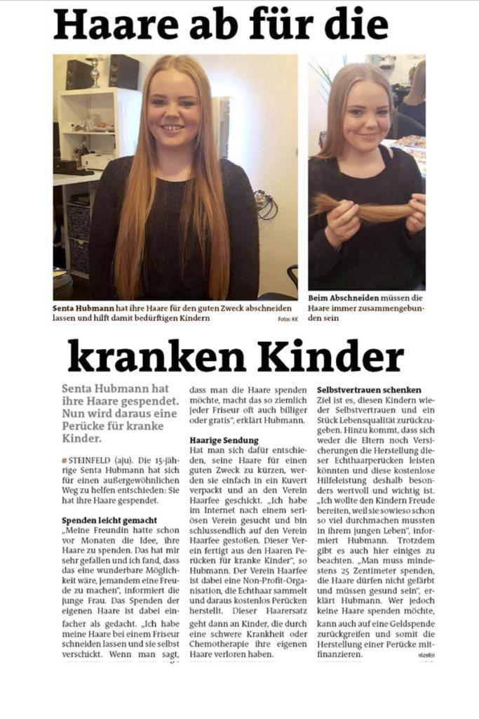Zeitungsartikel Senta Hubmann