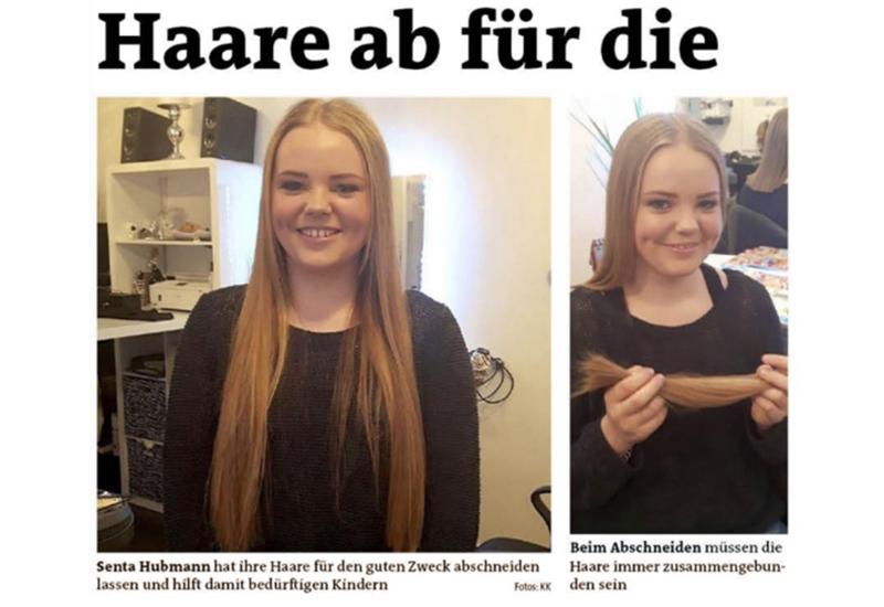Senta Hubmann spendet Haare